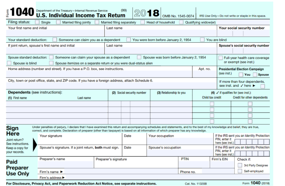 federal tax 1040 instructions